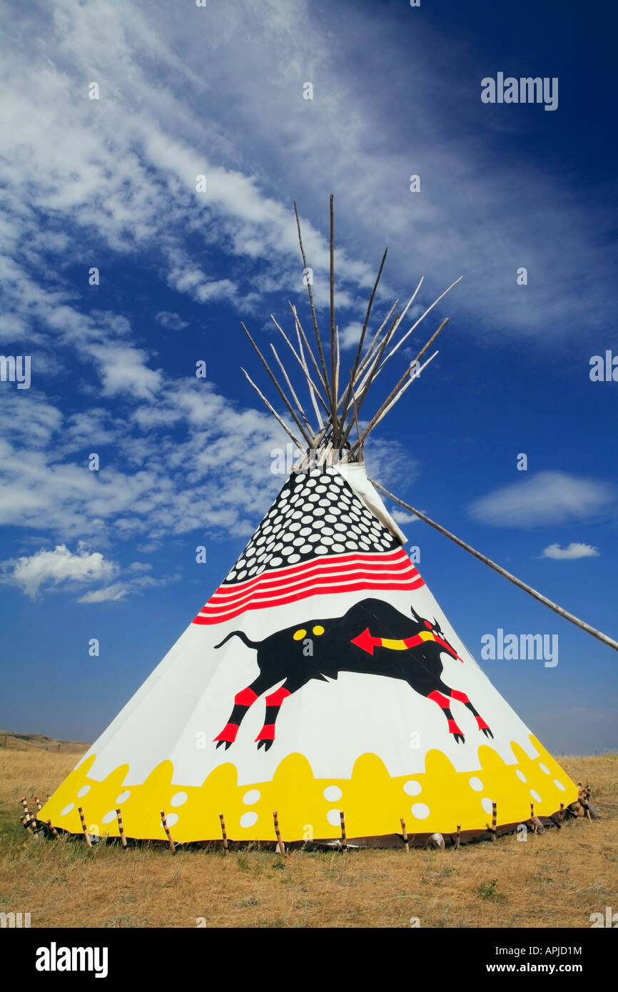 First Nations or Plains Indian tipis or teepees - Stock Image