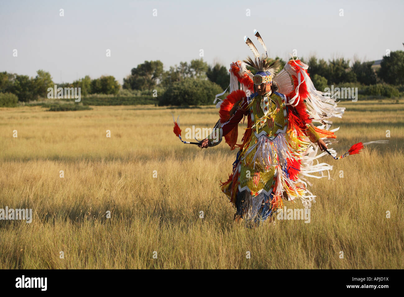 First Nations Plains Indian dancer doing traditional native dances - Stock Image