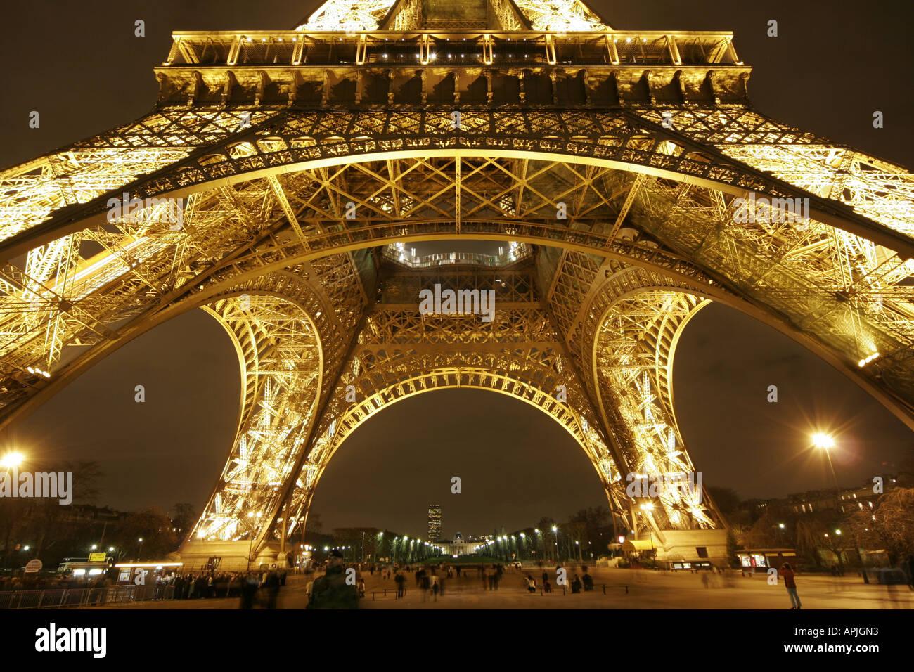 Eiffel Tower Tour Paris Night Lit Up Base Close Up Stock Photo Alamy