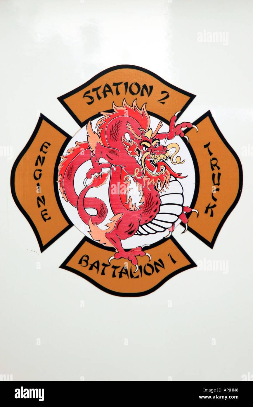San Francisco Fire Engine logo badge detail close - Stock Image