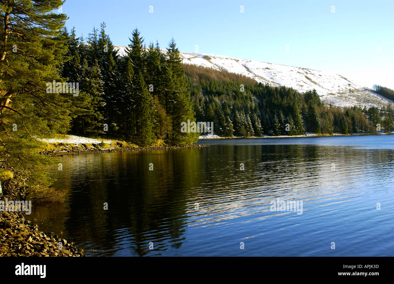 Winters Day on Ponsticill reservoir in the Brecon Beacons Wales Stock Photo