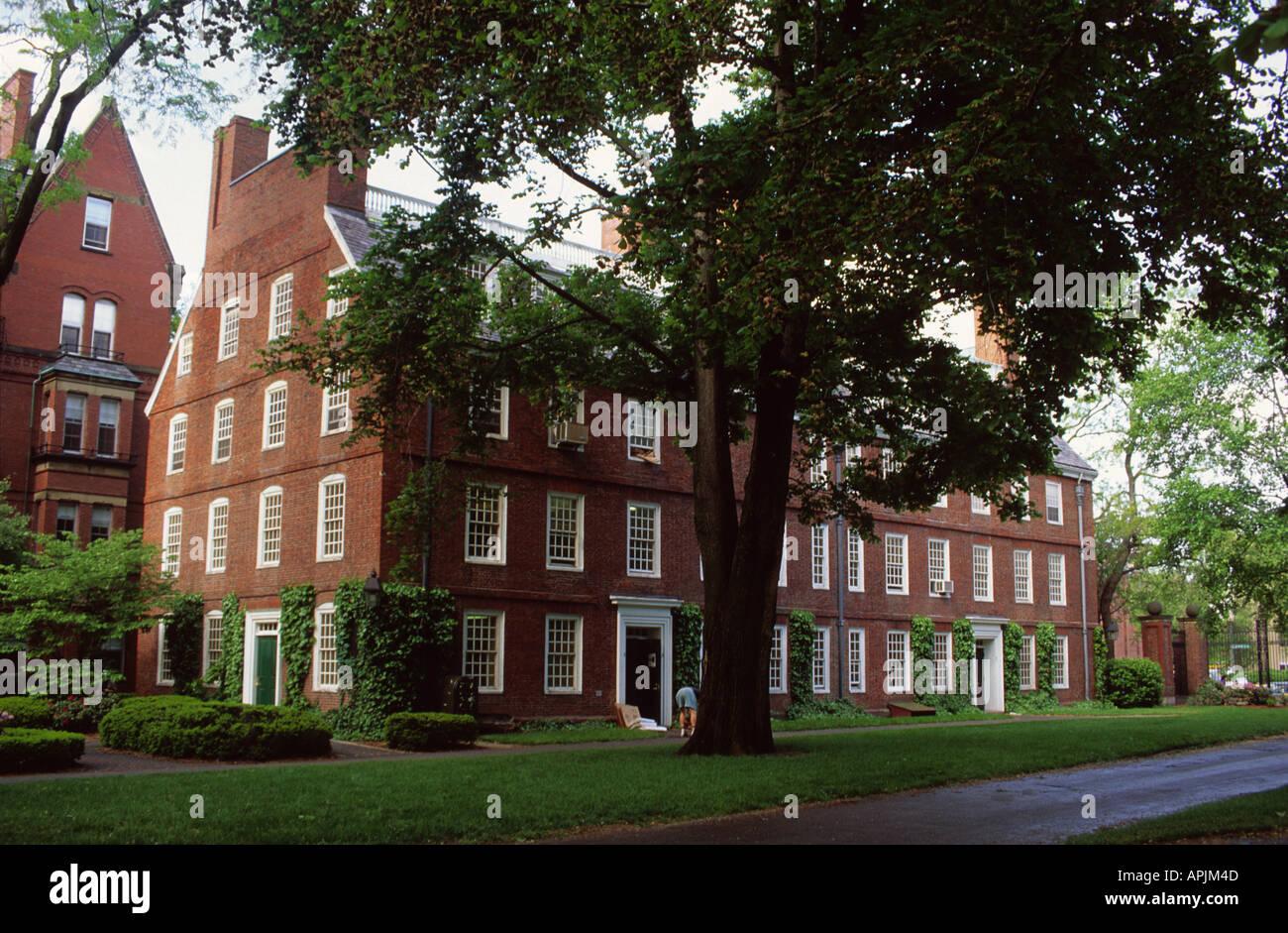 USA Cambridge Massachusetts Harvard University Campus Massachusetts Hall - Stock Image