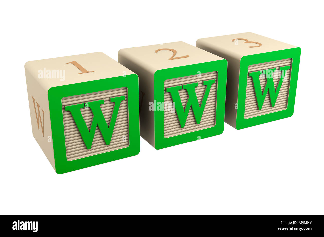 toy wooden block www internet green - Stock Image