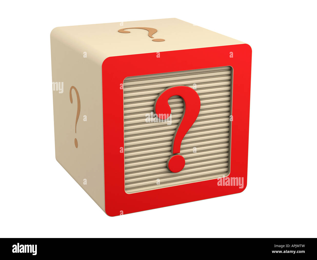 toy wooden block question mark red symbol sign - Stock Image