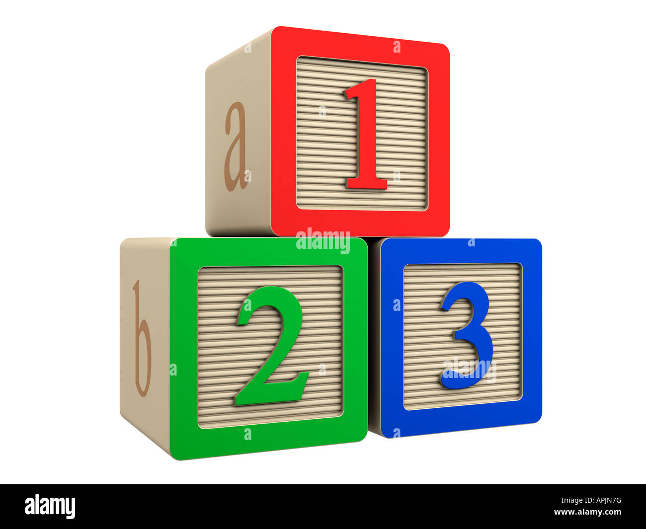 toy wooden block 123 one two three - Stock Image
