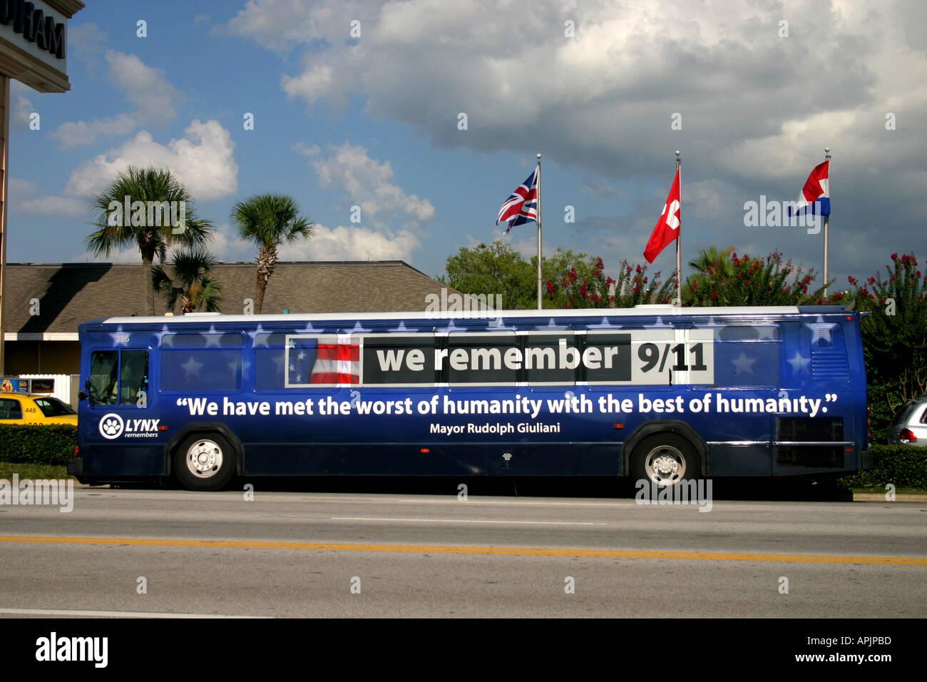9 11 Bus on International Drive Orlando Florida United States of America - Stock Image