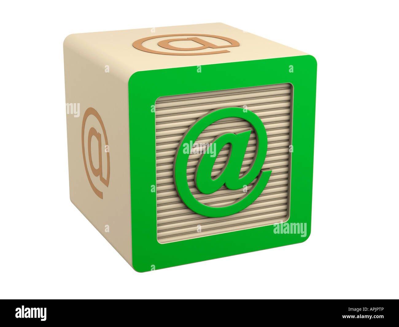 Toy Wooden Block Email At Symbol Sign Stock Photo 15806853 Alamy