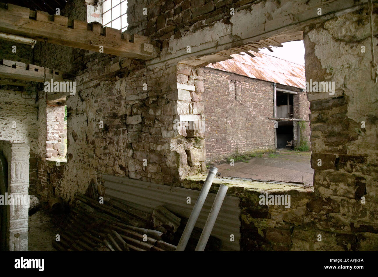 LOOKING FROM INSIDE OLD DERELICT FARM BUILDINGS FOR POSSIBLE CONVERSION UK - Stock Image