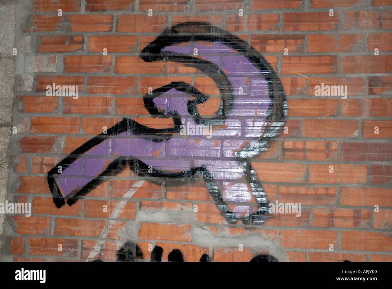 Hammer and sickle Graffitti Girona Catalonia Spain - Stock Image