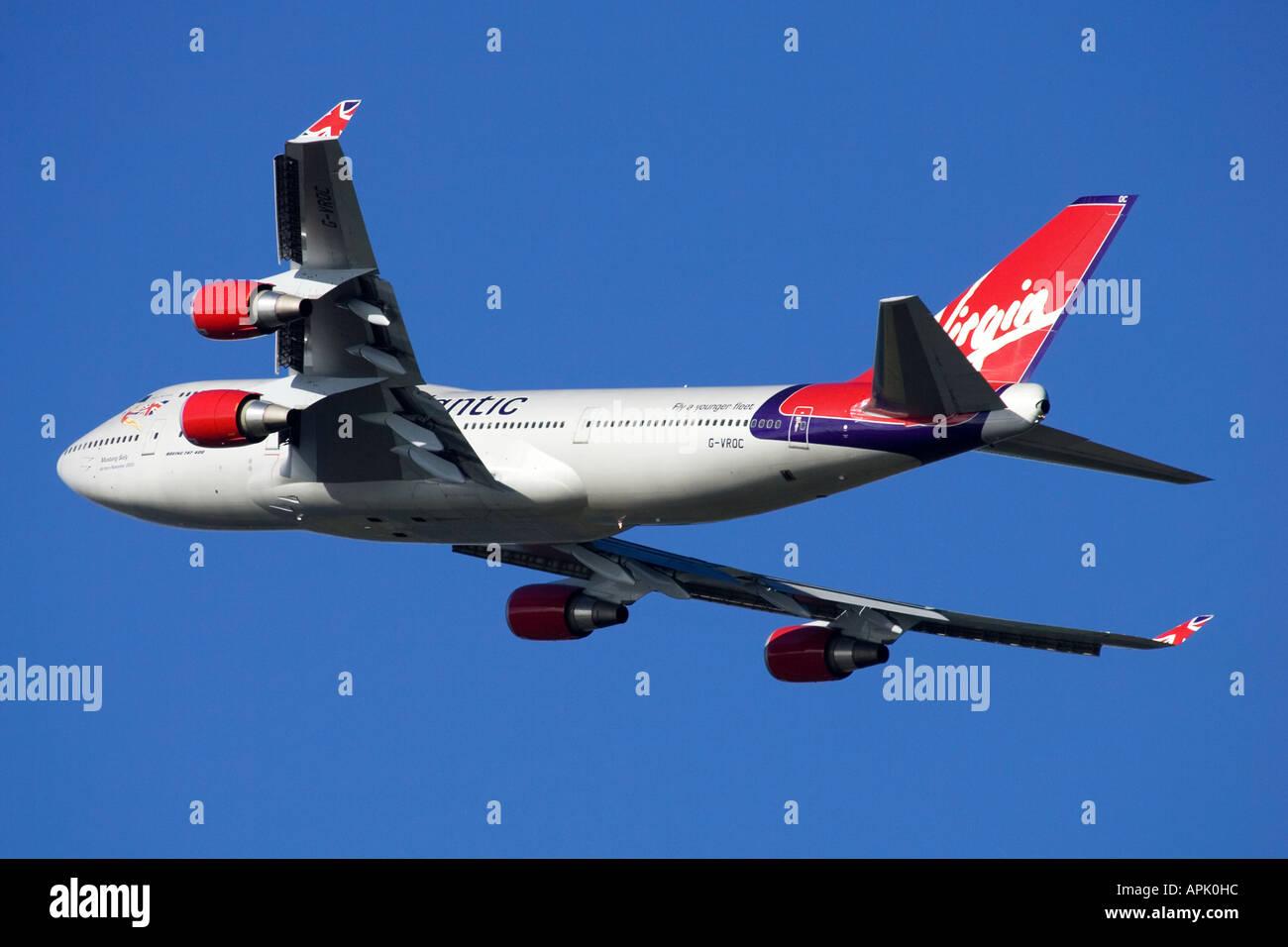 Aeroplane commercial passenger civil aviation Virgin Atlantic Boeing 747  400 Jumbo Jet