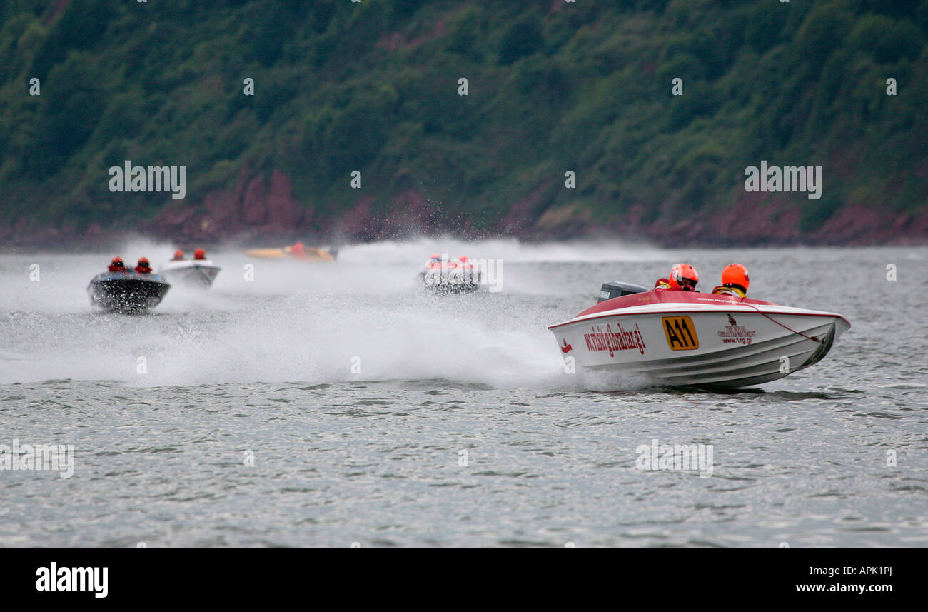 Offshore Circuit Racing Powerboat Racing at Teignmouth England - Stock Image