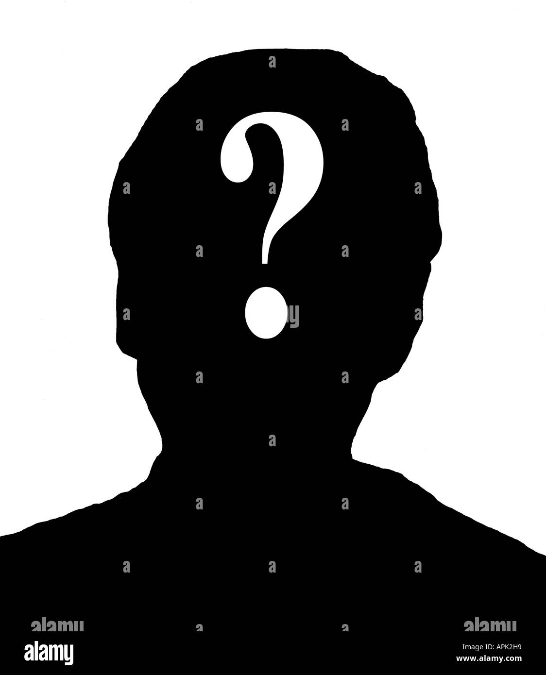 silhouette of male head with question mark composited over face - Stock Image