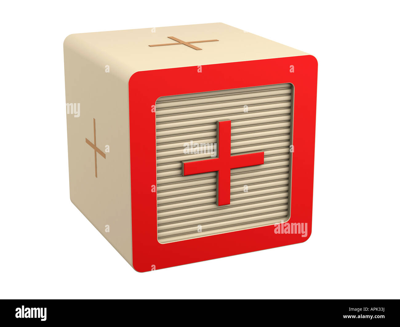 toy wooden block red addition add symbol sign - Stock Image
