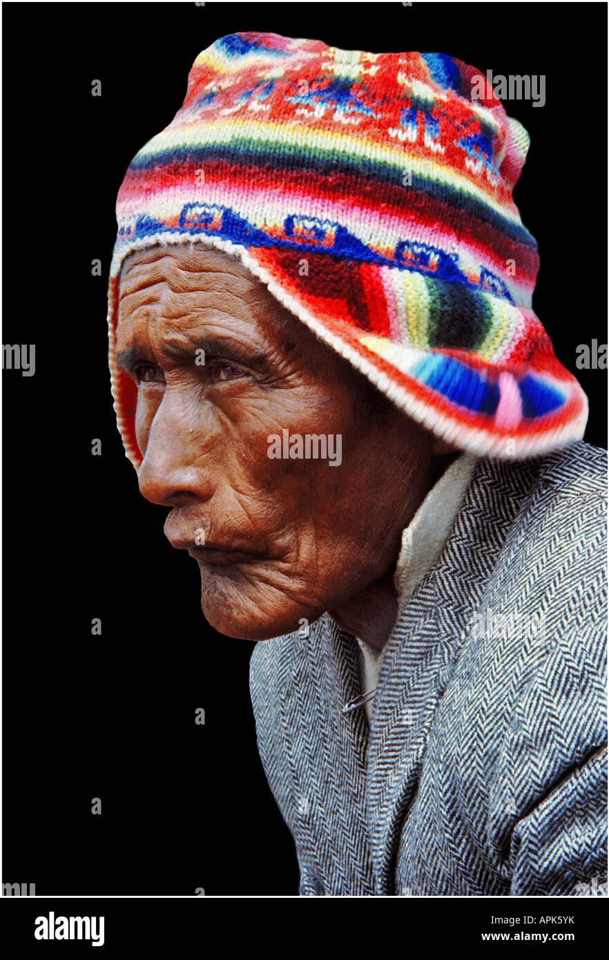 Aymara Man. Taquile Island. Titikaka Lake, Bolivia - Stock Image