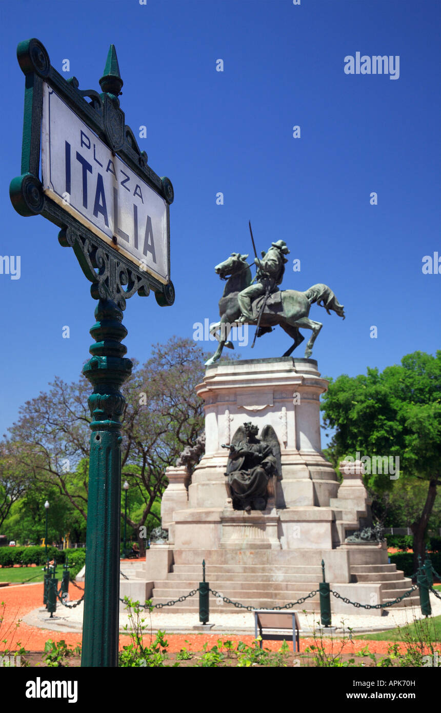Plaza Italia monument to Garibaldi and lettering at foreground. Palermo neighborhood,  Buenos Aires, Argentina - Stock Image
