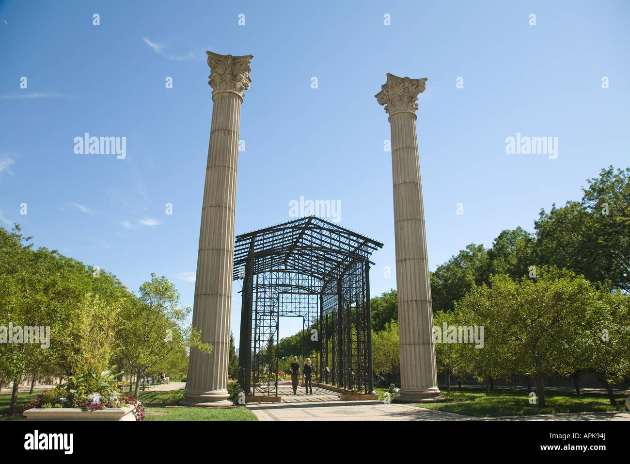 ILLINOIS Chicago Metal building with intricate design and two tall columns Cancer Survivors Garden in Grant Park - Stock Image