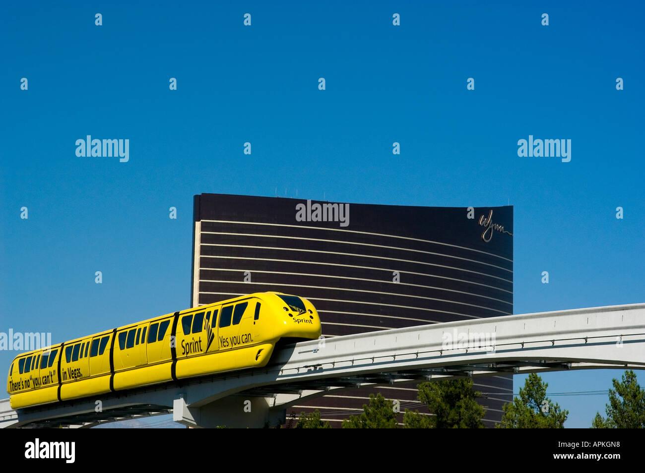 Monorail passing Wynn Hotel and Casino NV Las Vegas city scene - Stock Image
