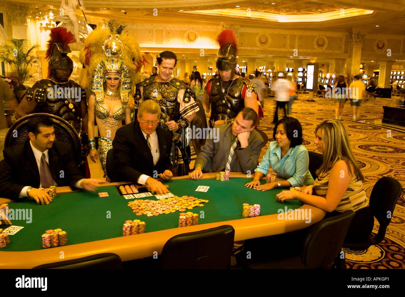 Nevada Caesars Palace and Casino gaming gambling poker model released NV Las Vegas Caesar Palace Guards Cleopatra actor - Stock Image