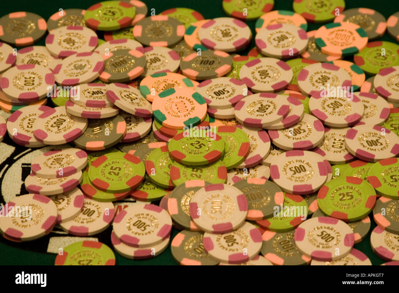 Chips at Nevada Caesars Palace and Casino - Stock Image