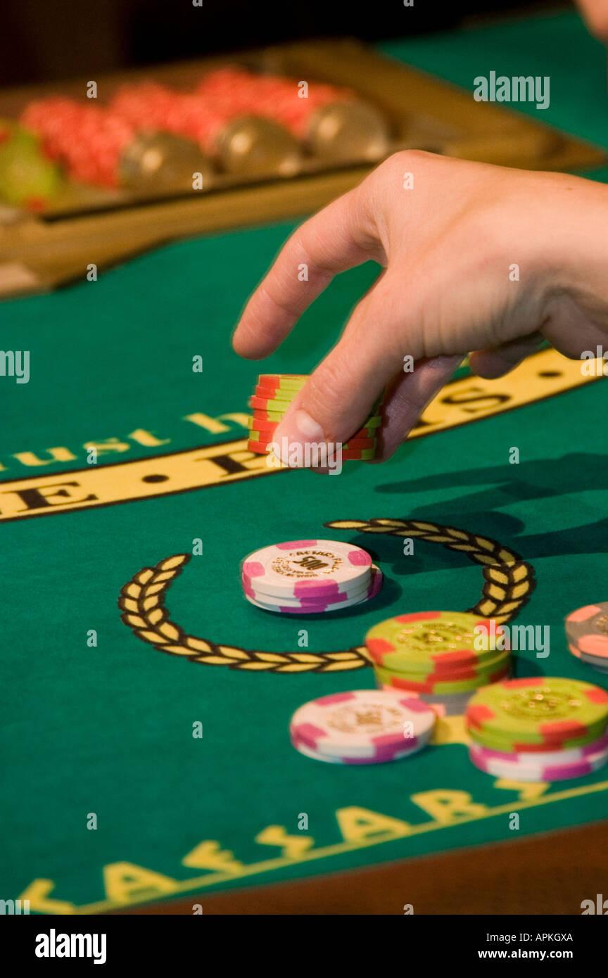 Blackjack table in Las Vegas Nevada Caesars Palace and Casino - Stock Image