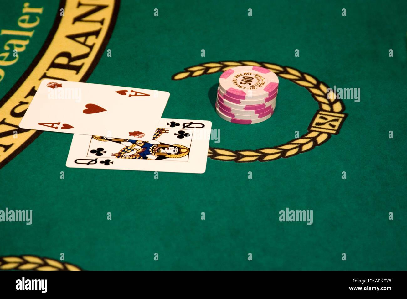 Blackjack hand in Las Vegas Nevada Caesars Palace and Casino - Stock Image