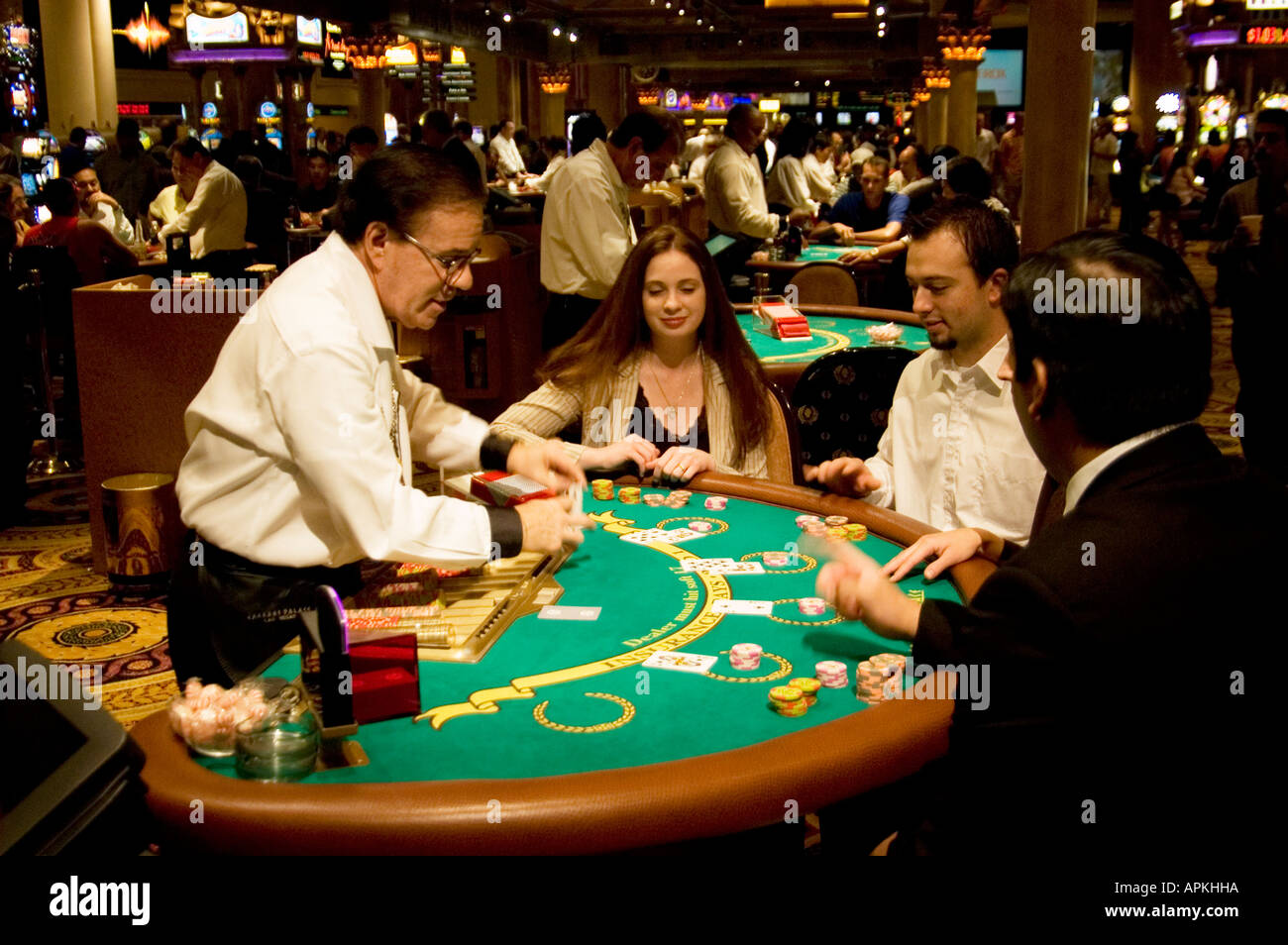 Blackjack table in Las Vegas Nevada Caesars Palace and Casino - Stock Image