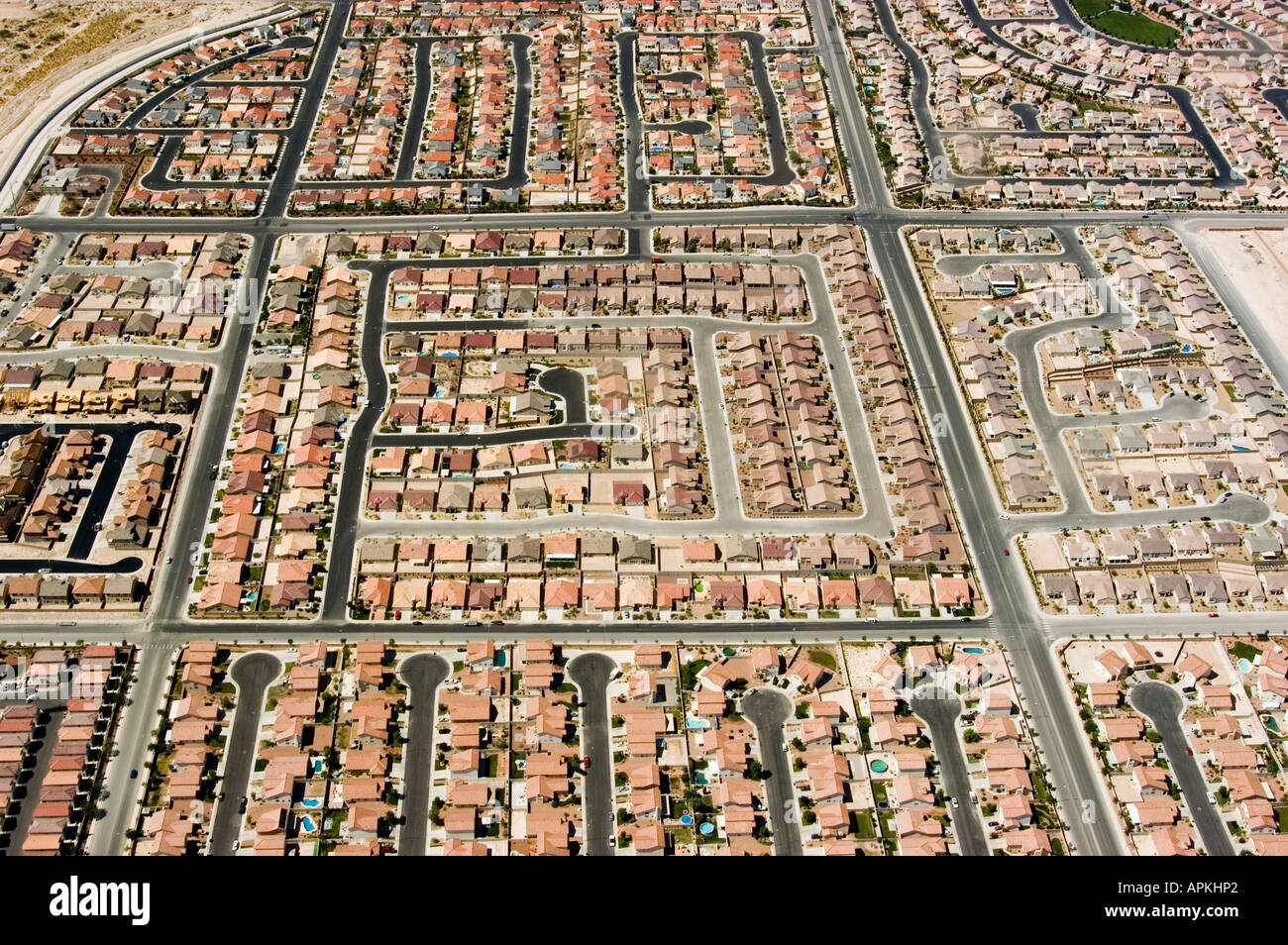 Aerial view of urban growth and sprawl in Las Vegas Nevada NV - Stock Image