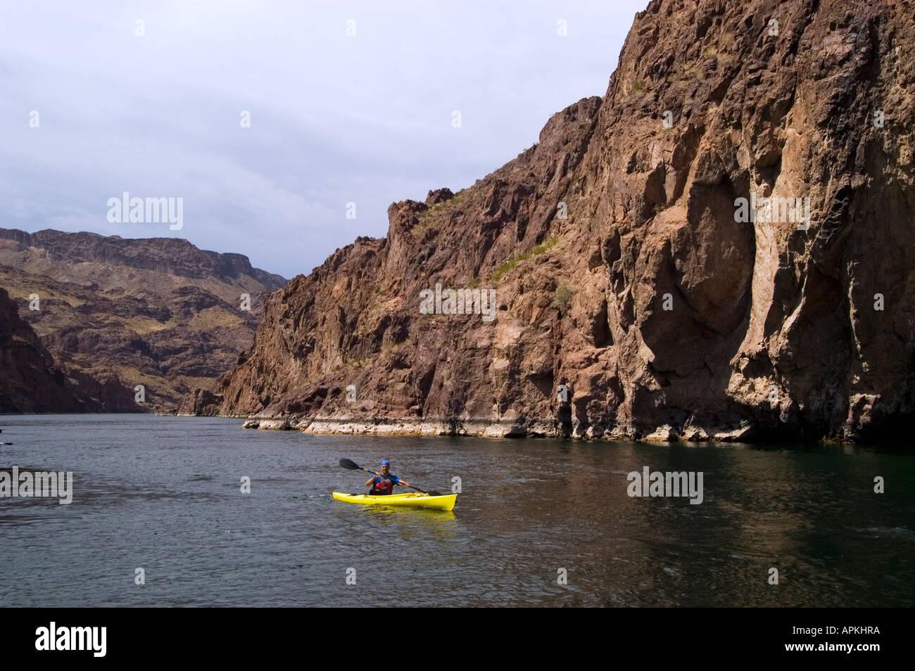 Kayaking No Model Release On The Colorado River Below Hoover Dam On Border Of Arizona Az Nevada Nv