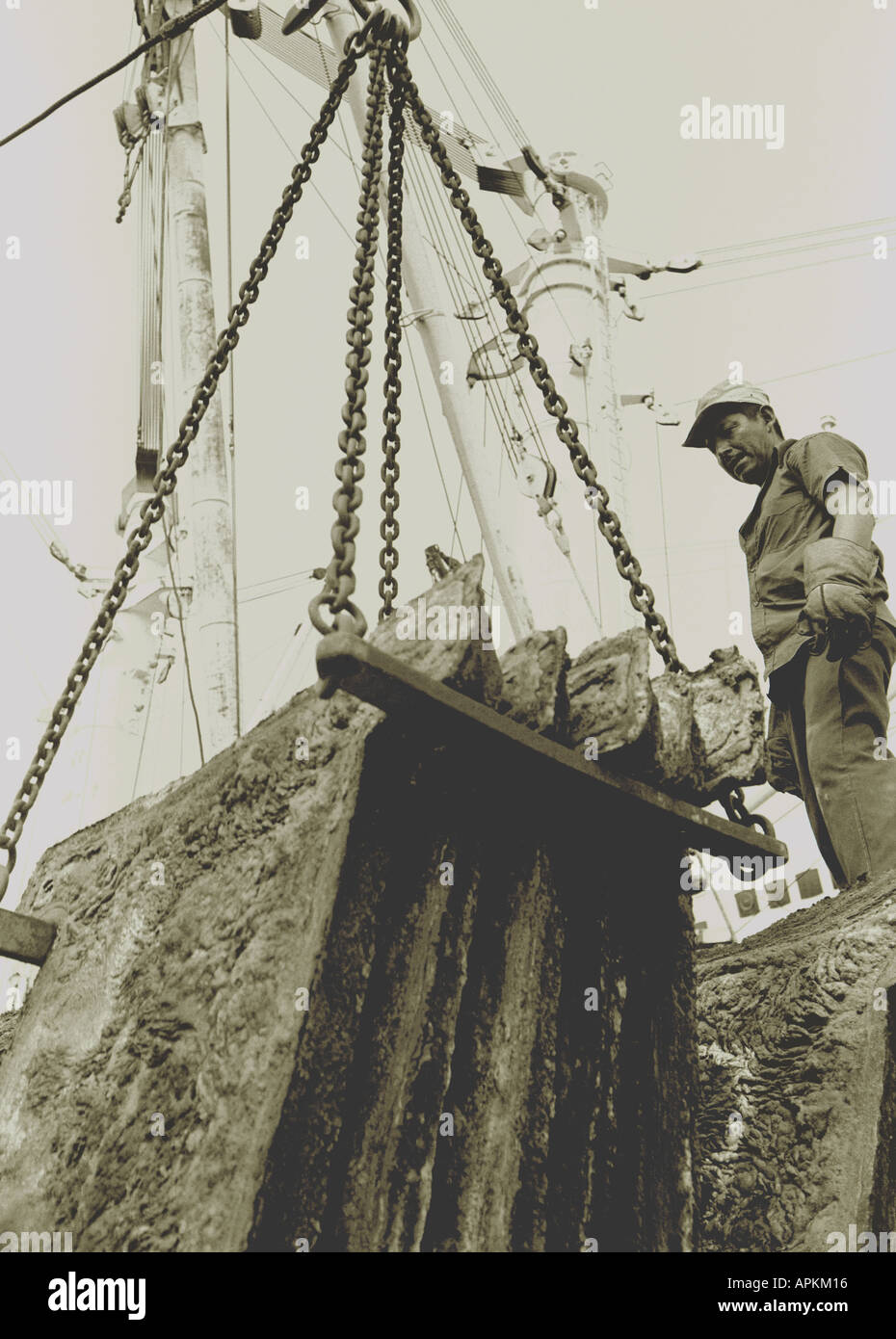 Loading blister copper for export at port of Ilo in southern Peru. taken in 1978 - Stock Image