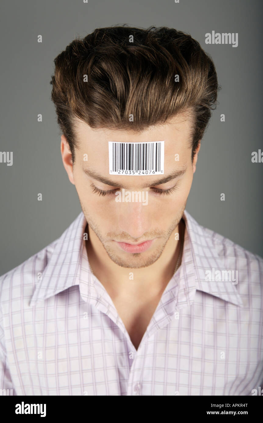 Man portrait with bar code on forehead Stock Photo