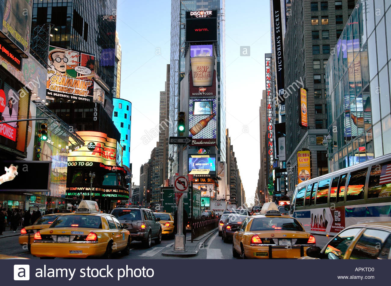 Times Square and traffic. (NYC, New York, USA) - Stock Image