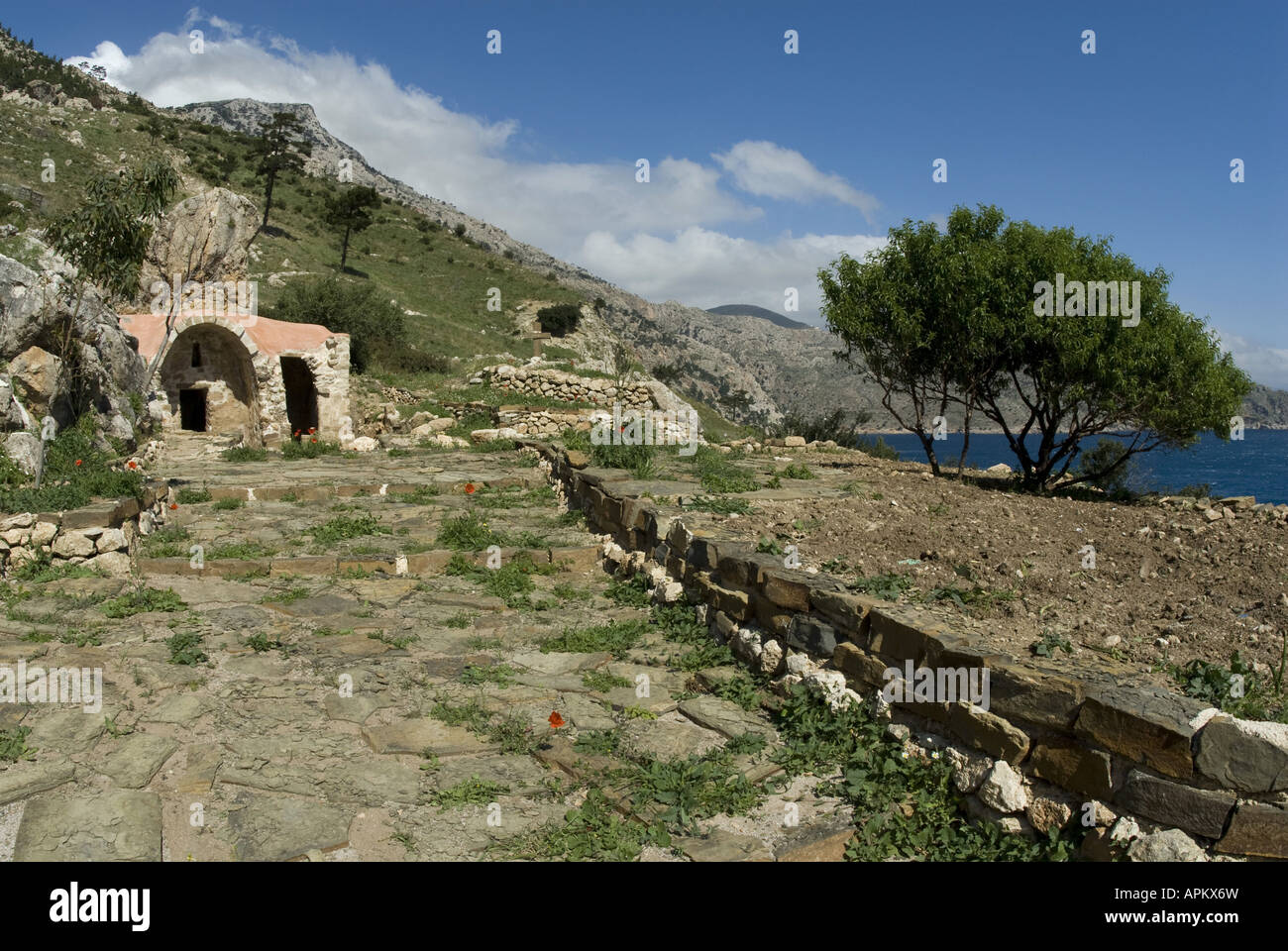 little church on the island Karpathos, Greece, Krpathos Stock Photo