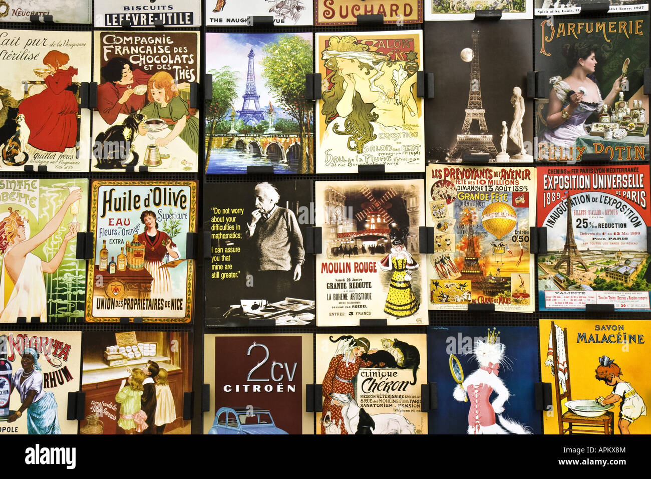 street sale pictures of old advertisements, France, Paris - Stock Image