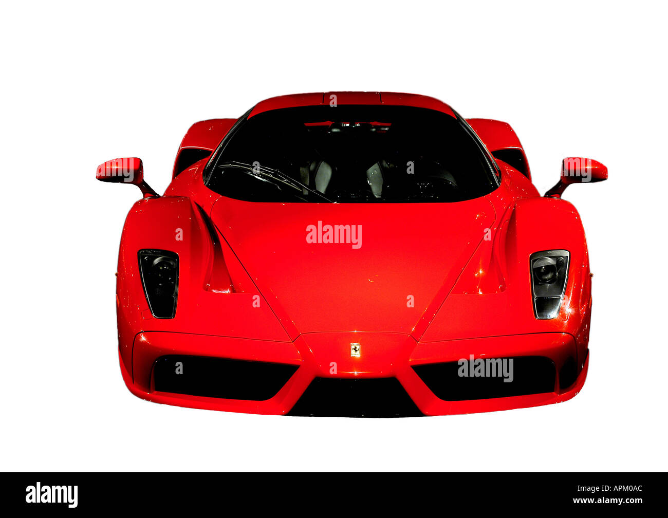 red ferrai Enzo black and white background front on - Stock Image