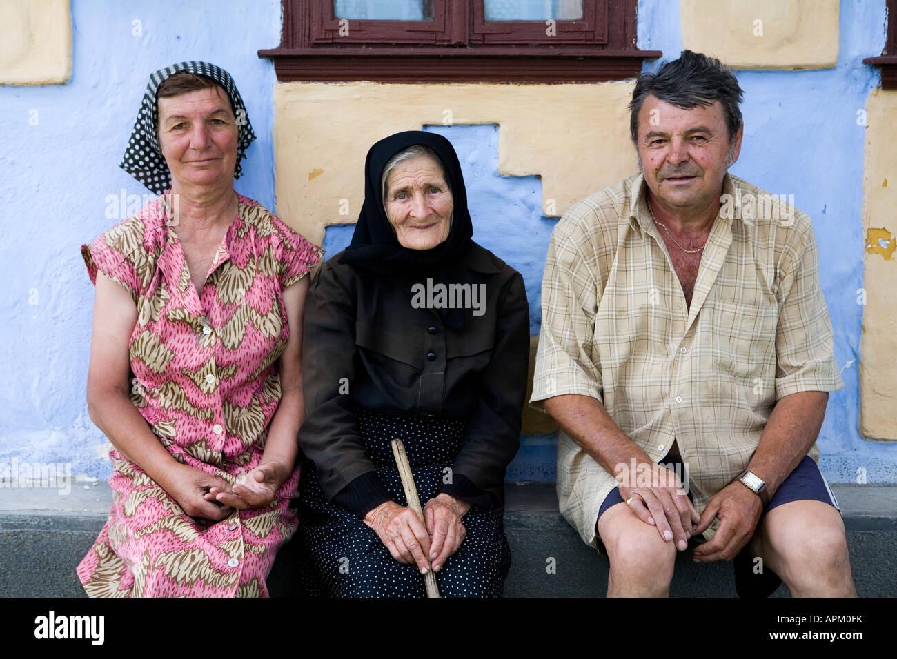 A peasant family in Transylvania, Romania - Stock Image