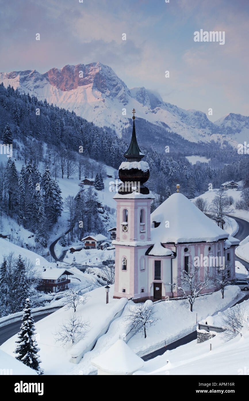baroque pilgrimage church at Maria Gern in winter, Germany, Bavaria, Maria Gern - Stock Image