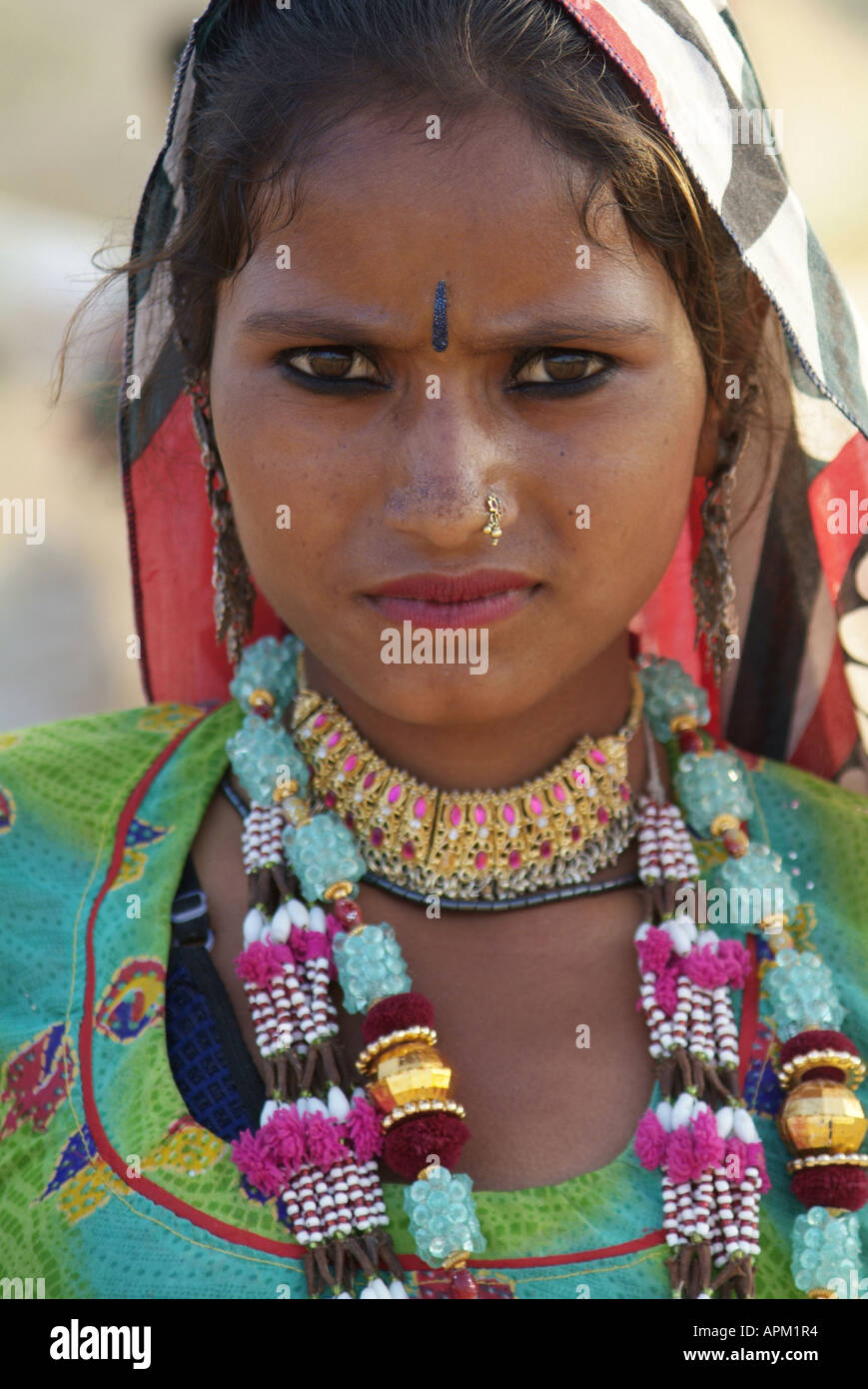 Portrait of a woman in traditional Rajasthani dress, India Stock Photo
