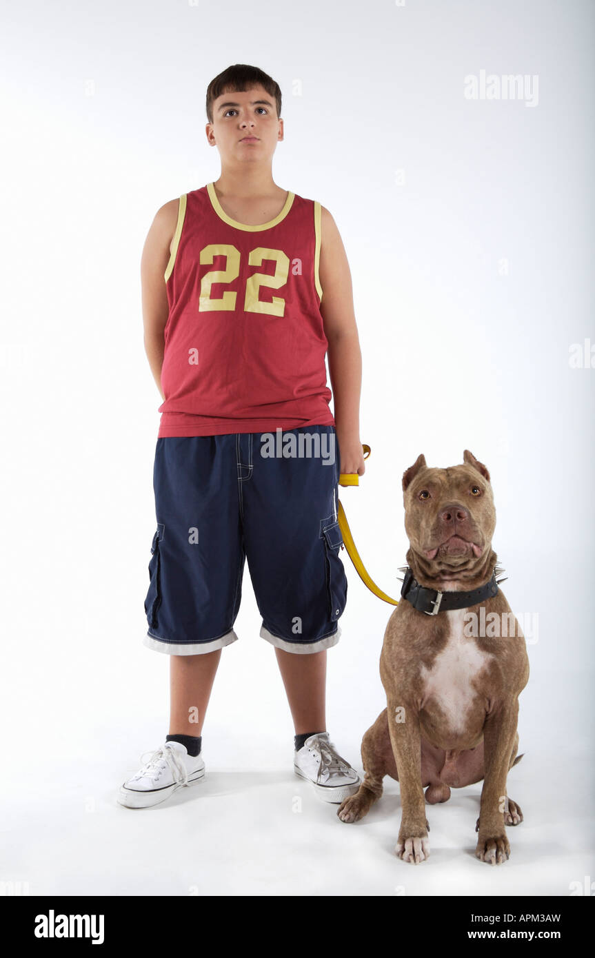 Teenager with Pitbull dog - Stock Image