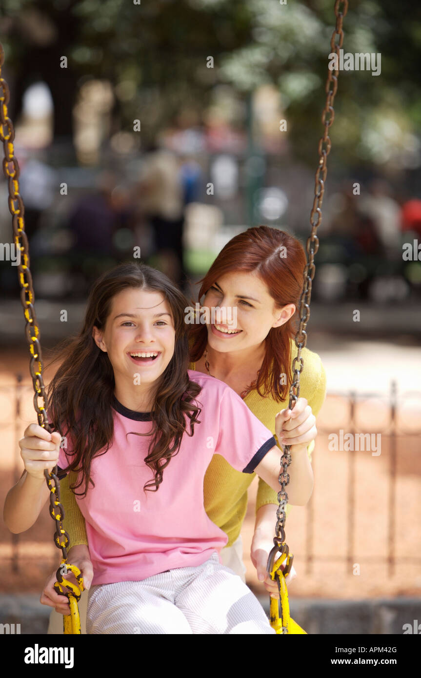 Mother and daughter at playground Stock Photo