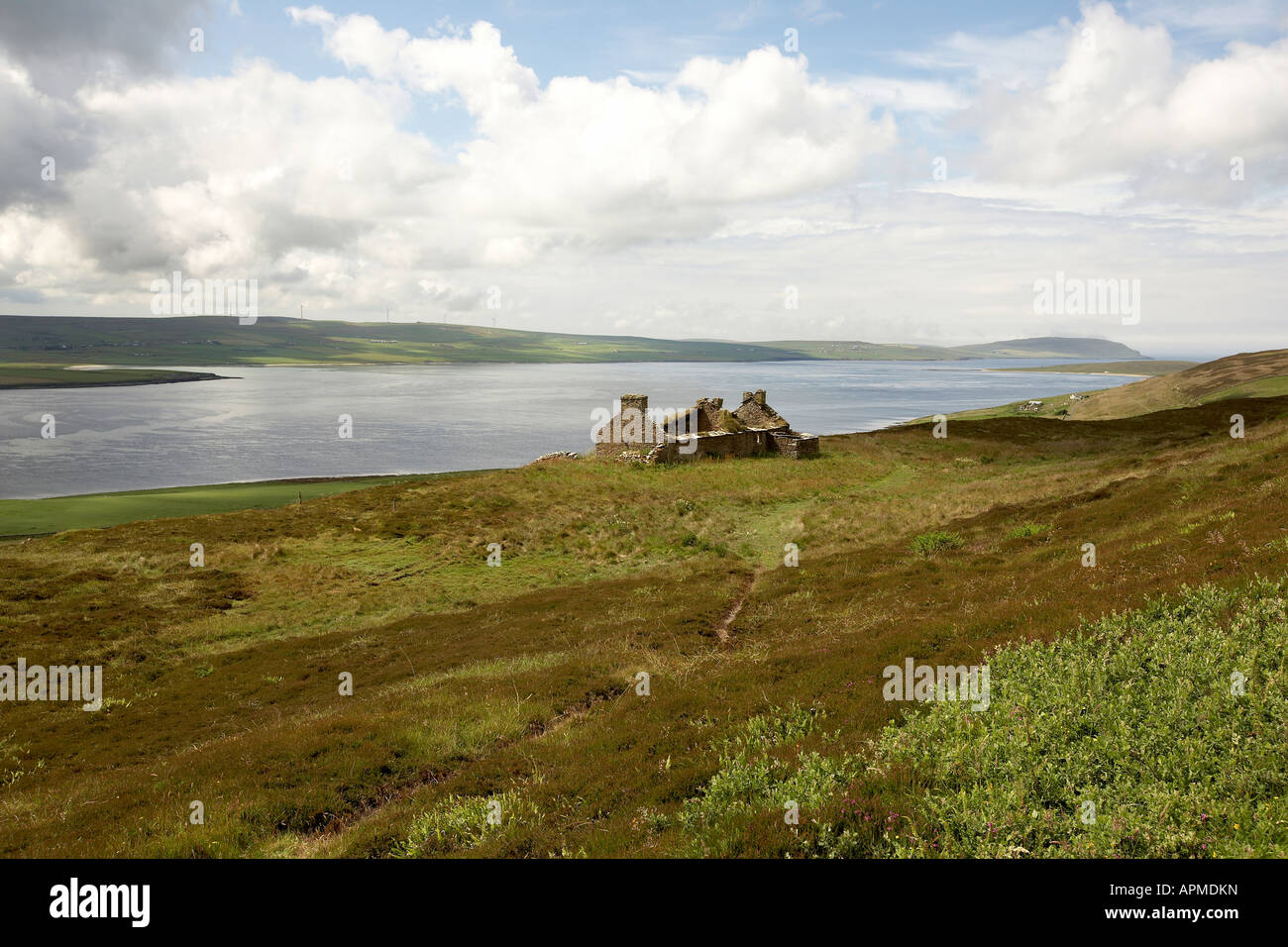 Deserted cottage over looking the Eynhallow Sound Rousay Orkney Scotland UK - Stock Image