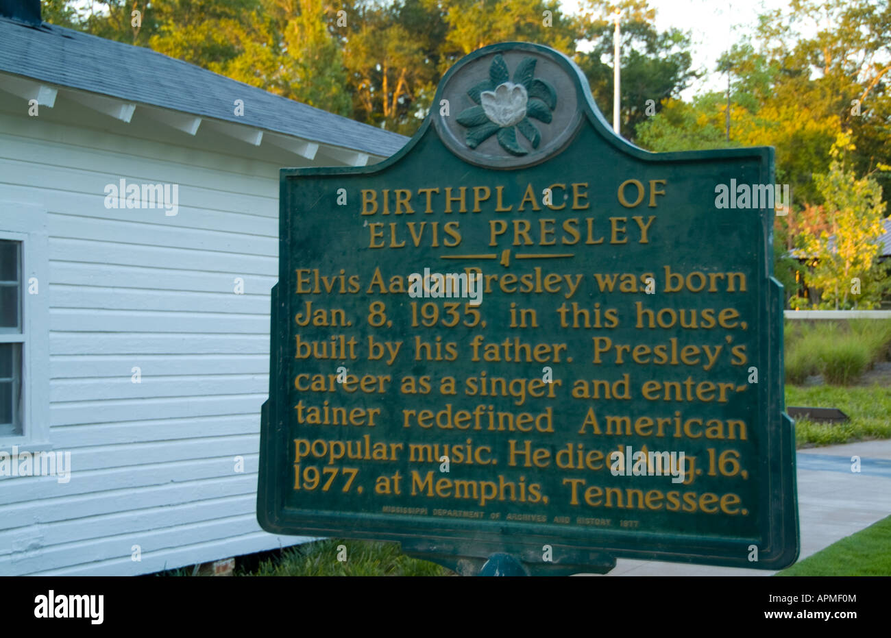 Historical old birthplace sign of poor home of music legend Elvis Presley in Tupelo Mississippi USA - Stock Image