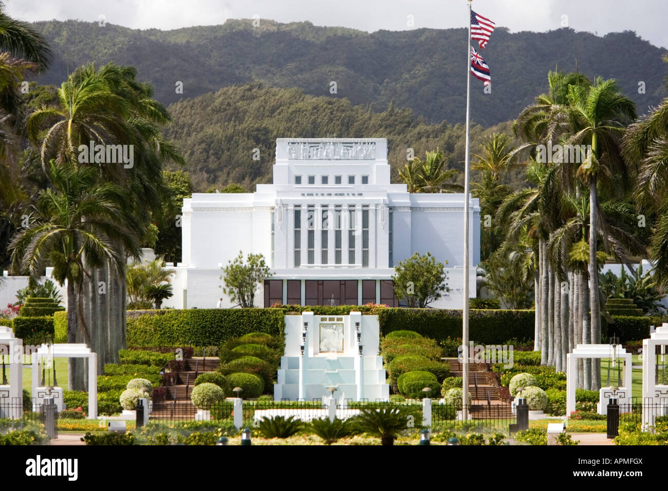 brigham young university campus laie oahu hawaii usa stock photo