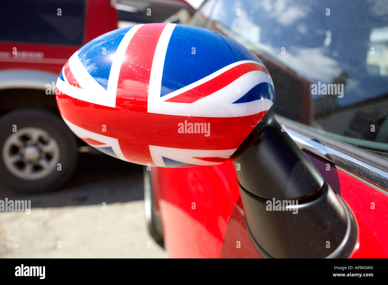 union jack wing mirror union jack union flag wing mirror on mini stock photo 15823669 alamy. Black Bedroom Furniture Sets. Home Design Ideas