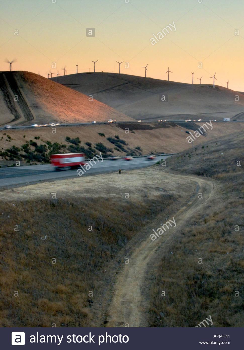 Morning Traffic Altamont Pass California Stock Photo: 5165376 - Alamy