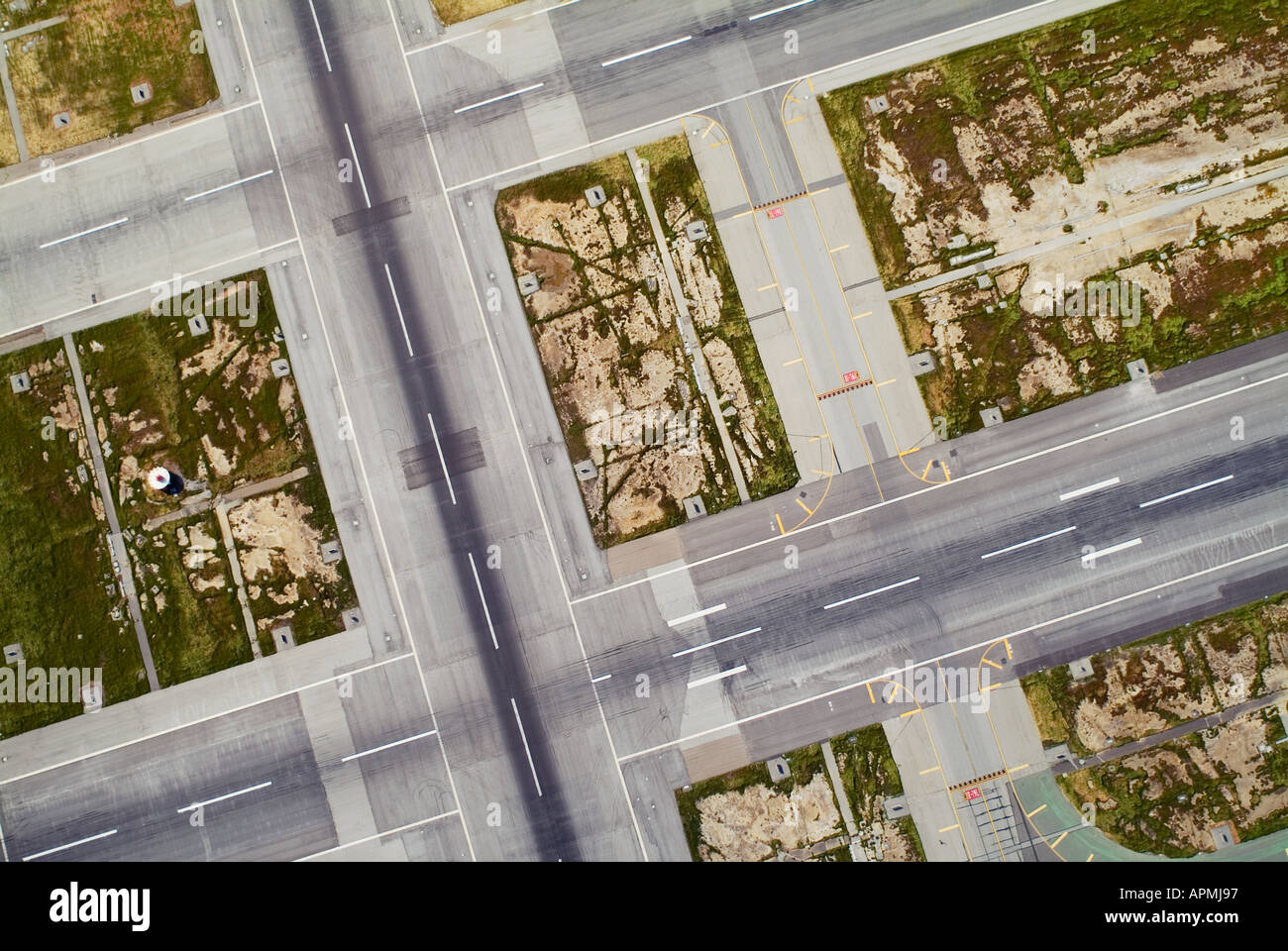aerial above San Francisco International Airport SFO runways - Stock Image