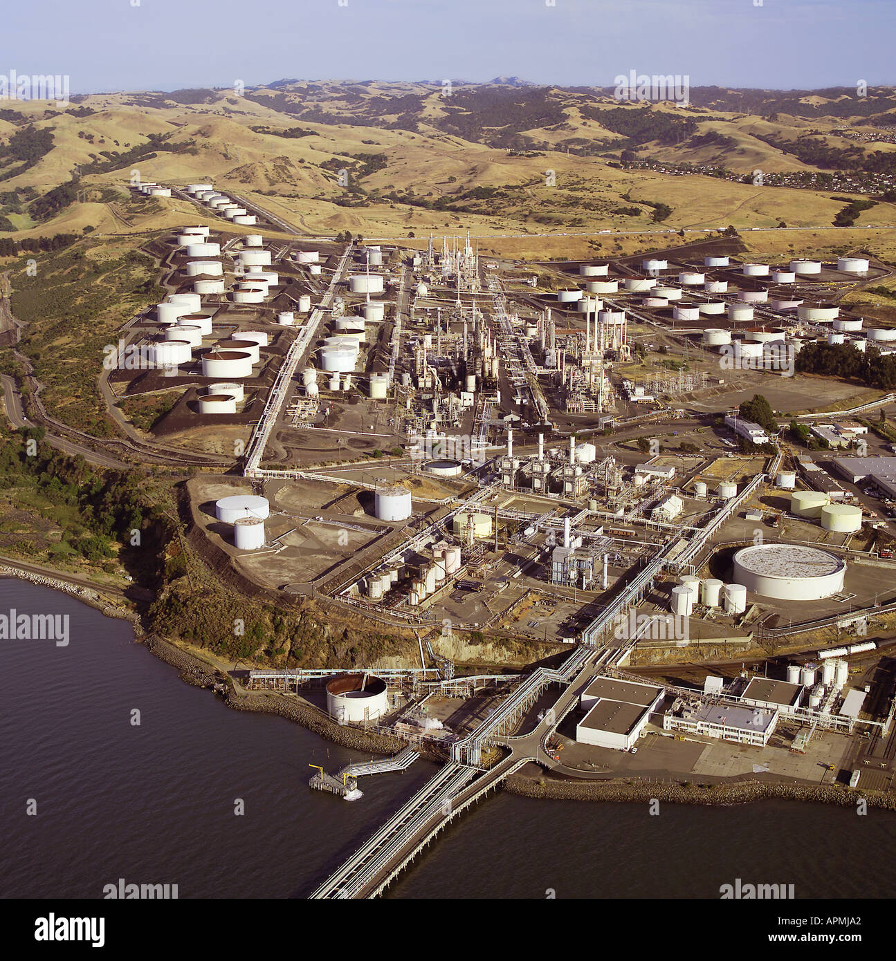 aerial view above Conoco Phillips refinery Rodeo California Stock Photo