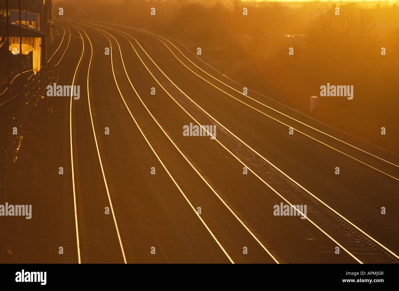 Railtracks at sunset - Stock Image