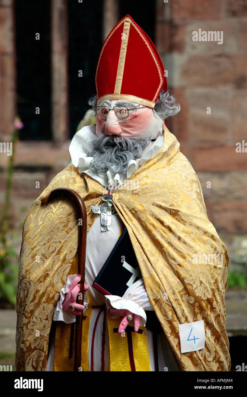 Mannequin Archbishop at St Margarets Church in Wrenbury - Stock Image