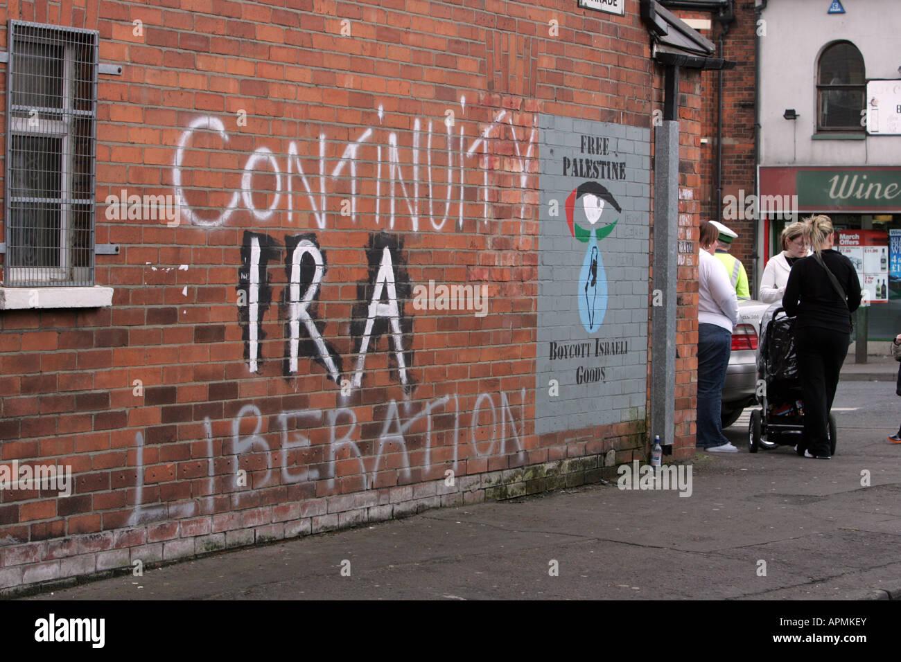 A series of Irish Republican murals on street walls around west Belfast, Northern Ireland. - Stock Image