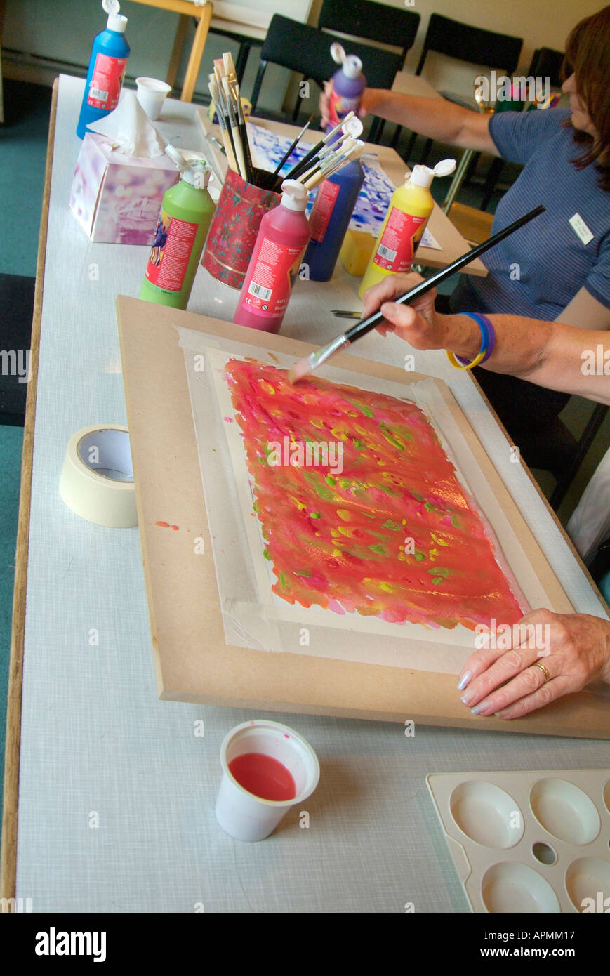 Painting Therapy Workshop Water Colour Color Table Top Drawing Board Stock Photo Alamy